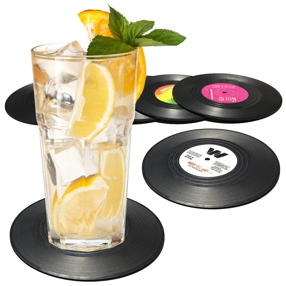 Senhai Retro Vinyl Record Tappetini tovagliette per il freddo bevande calde Anti-Skid tavolo Protection previene lo slittamento Set di 6 sottobicchieri 4.1