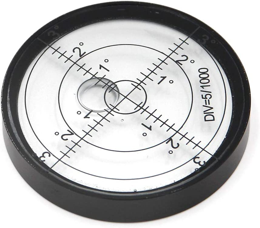 Aluminium Case Bullseye Spirit Bubble Surface Level Round Inclinometers for Surveying Instruments and Tribrachs, Ø60mm,Accuracy 15'/2