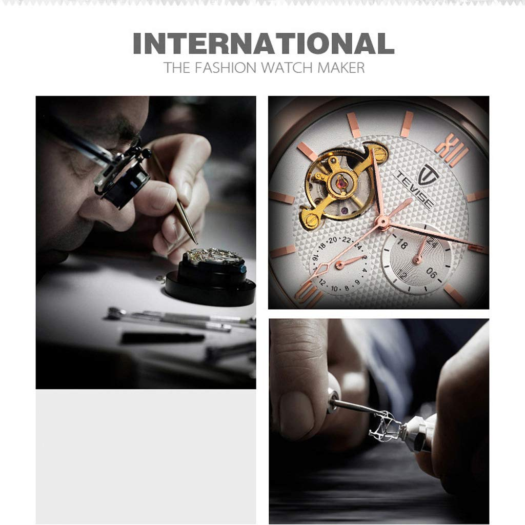 Vattentät enkel affärs vardaglig armbandsur, automatisk mekanisk skelett herrklocka - flerfärgad c