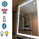 Turefans Espejo baño, Espejo baño con luz, Audio Bluetooth, Pantalla LCD (Fecha, Hora, Temperatura), antivaho, 2 Colores…