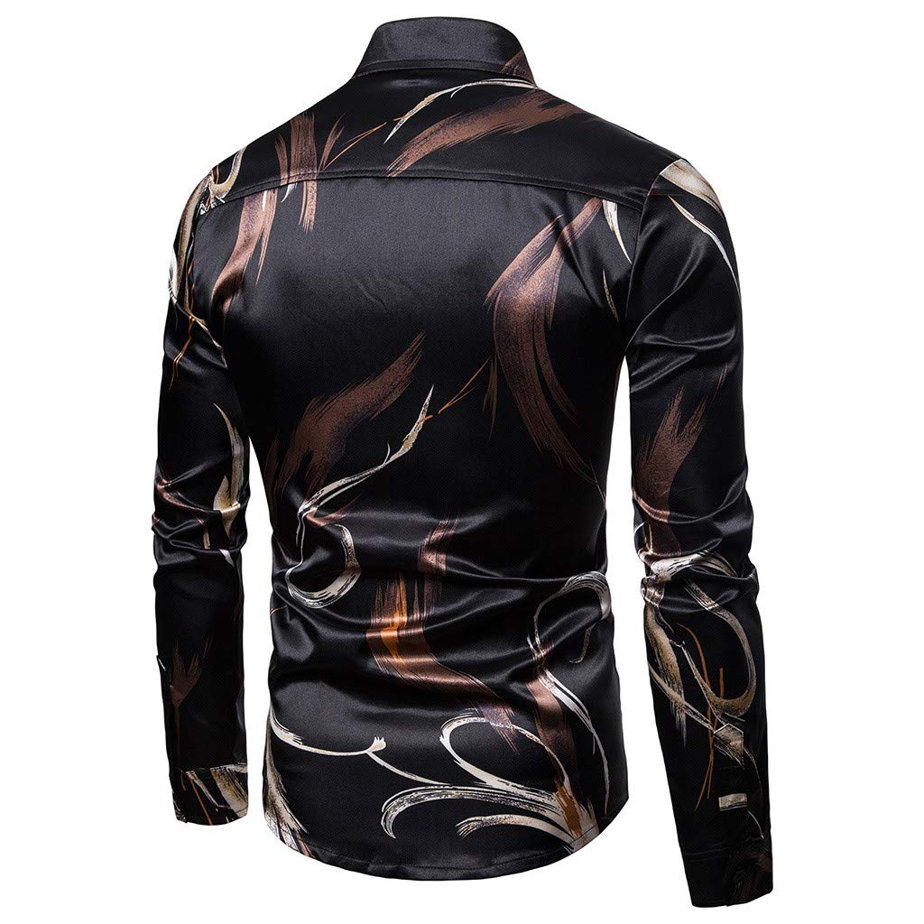 TAGGMY Men Shirts Fashion Gold Printed Long Sleeve Spring Casual Slim Fit Button Standing Collar Tops Blouse