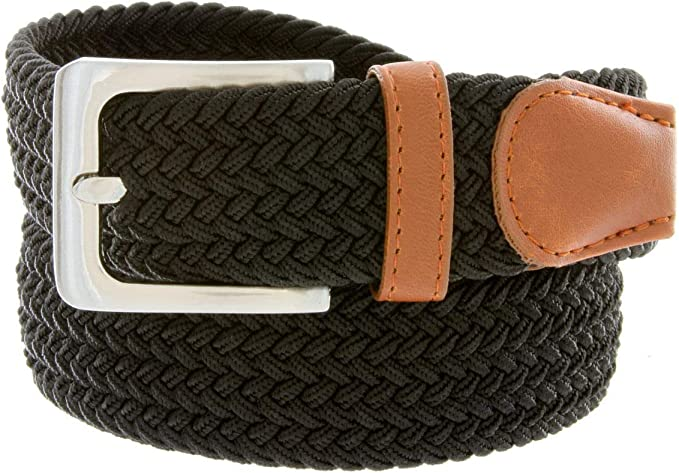 "7001G Men/'s Fabric Leather Elastic Woven Stretch Belt 1-3//8/"" Wide"
