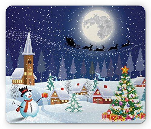 Christmas Mouse Pad by Ambesonne, Winter Season Snowman Xmas Tree Santa Sleigh Moon Present Boxes Snow and Stars, Standard Size Rectangle Non-Slip Rubber Mousepad, Blue White