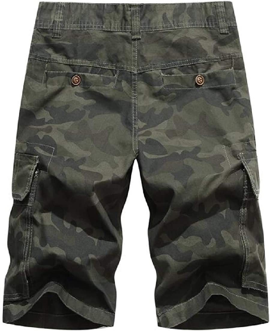 UUYUK Men Washed Straight Leg Military Multi-Pockets Cotton Camouflage Ripstop Cargo Shorts