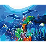 DIY Paint by Numbers Kit for Adults - Sea World   DIY Paint by Numbers Landscape Scene Paintings Pictures Arts Craft for Home Wall Decor   Pre-Printed Art-Quality Canvas, 3 Brushes, 24 Acrylic Paints