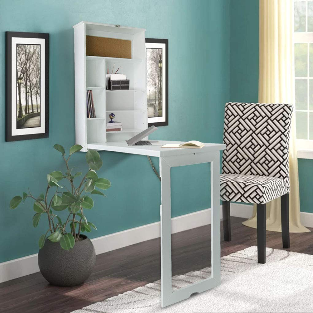 Ustyle Fold Out Wall Mounted Convertible Desk fold Out Desk
