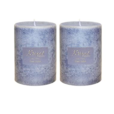 KRIXOT Scented Pillar Candles Set of 2 Fragrances | Clean Cotton in Mottled Finish Size 3  X 4  | Premium Fragrance Oil | Finest Wax Blend | 100% Cotton Wicks