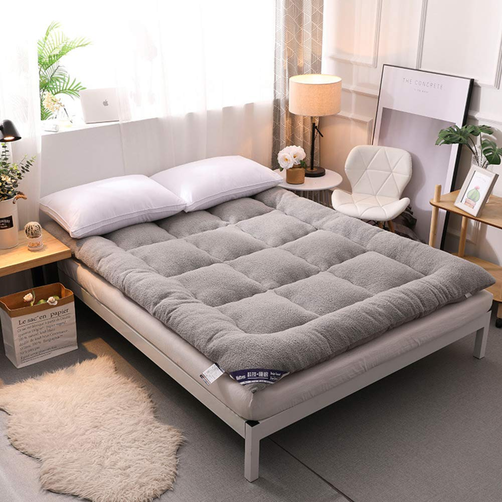 Love Home Tatami Matratzenauflage, warmes Plüschgefühl, japanische Studenten-Schlafmatratze, Schlafmatte, Schaumstoff, grau, 200x220cm(79x87inch)