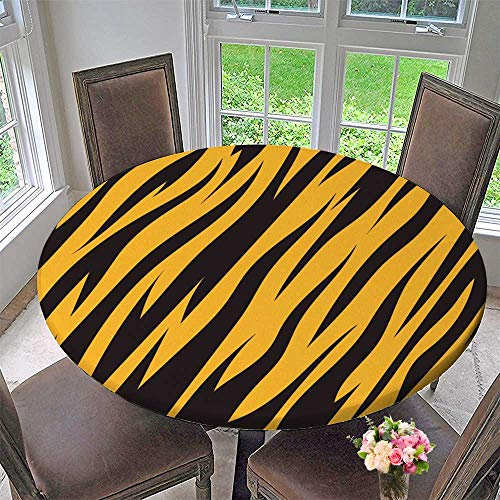 PINAFORE HOME Premium Tablecloth Tiger Texture Background Everyday Use 63