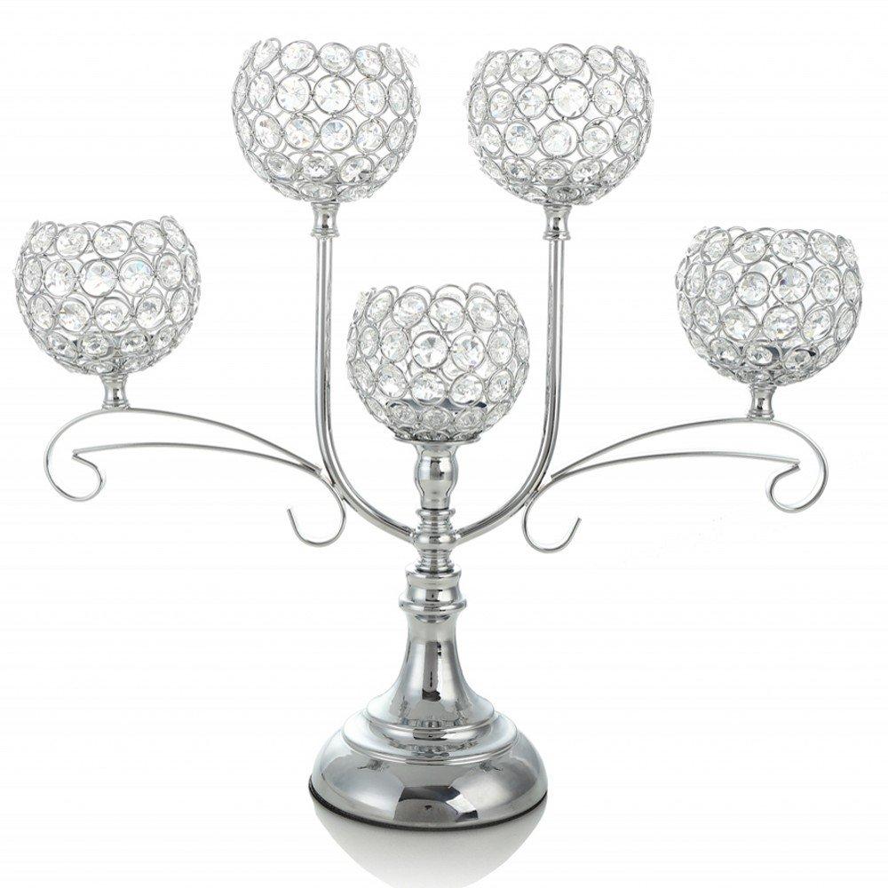 Amazon.com: VINCIGANT Silver Crystal Candelabra for Wedding Coffee ...