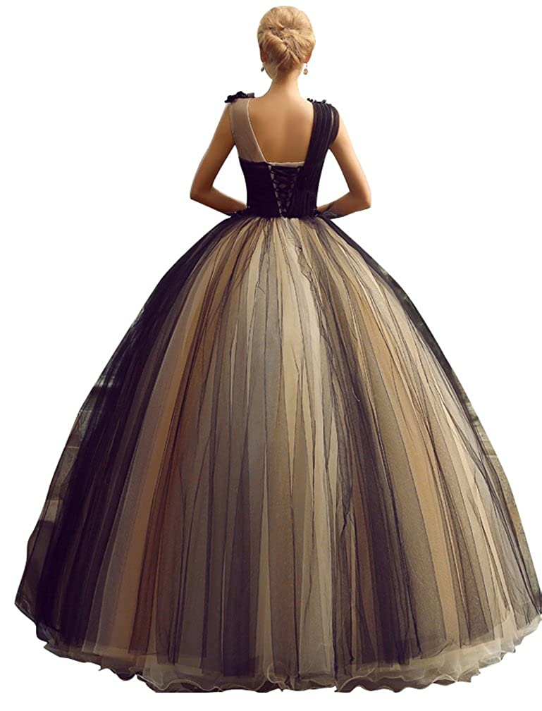 Beauty-Emily Sleeveless Princess Pleated Handmade Lace-Up Ball Wedding Dresses