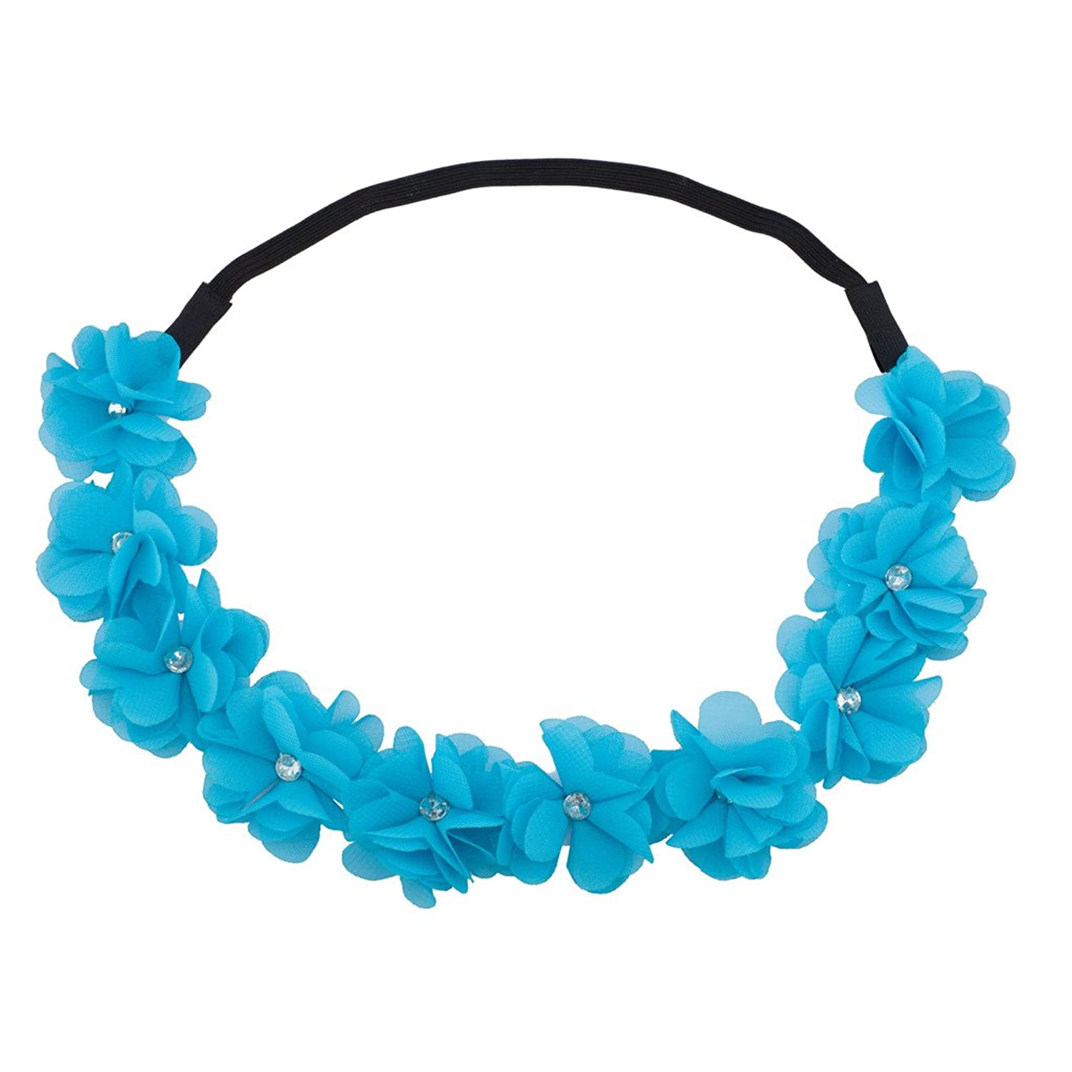 Lux Accessories Blue Floral Flower Crystal Stretch Headband Head Band