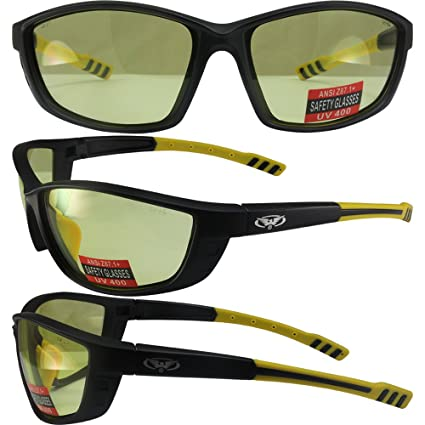 6777e111a0b9 Amazon.com  Global Vision Radeye Safety Sunglasses Matte Finish Black and  Yellow Frames with Yellow Lenses ANSI Z87.1+  Automotive