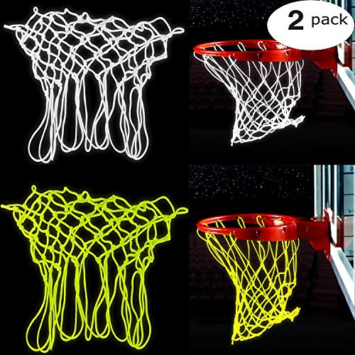 Bomach 2 Pack Basketball Net Glow In The Dark Basketball Hoop Net Professional Heavy Duty Indoor or Outdoor Basketball Sports Luminous Rim Net Replacement Fits All-Weather(White and Green)