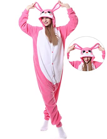 e648a1fd9879 Amazon.com  Rabbit Onesies Adult Pajamas Animal One Piece Cosplay Halloween  Costume for Women Men  Clothing