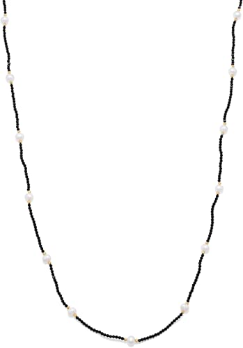 Natural 2mm Black Spinel /& Freshwater Pearl Gemstone Silver Choker Necklace 18/'/'