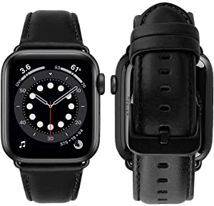MroTech Leather Band Compatible with Apple Watch Band 44mm 42mm Men Women Genuine Leather Strap Vintage Bands Replacement for iWatch Series 6/SE 5 4 3 2 1 Black Bracelet Black Clasp 42/44 mm