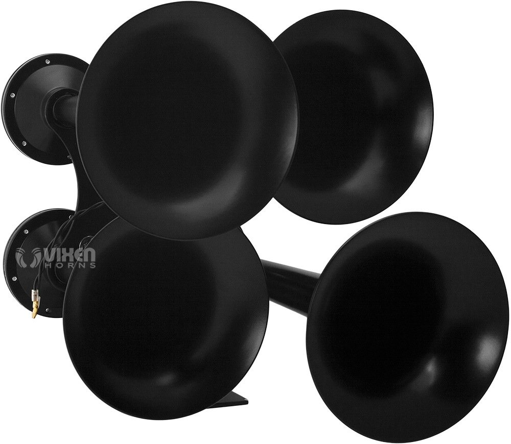 Vixen Horns Loud 152dB 4/Four Trumpet Heavy Duty Train Air Horn with 12V Electric Solenoid Black VXH4318B by Vixen Horns (Image #4)