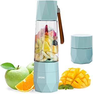GREENIS Upgrade Electric Smoothie and Shake Blenders | Vacuum Design | Portable Personal Juicer Maker | USB Rechargeable | Ice Crusher | Fruit Mixer Machine | Food Processor | with Bottle for Travel