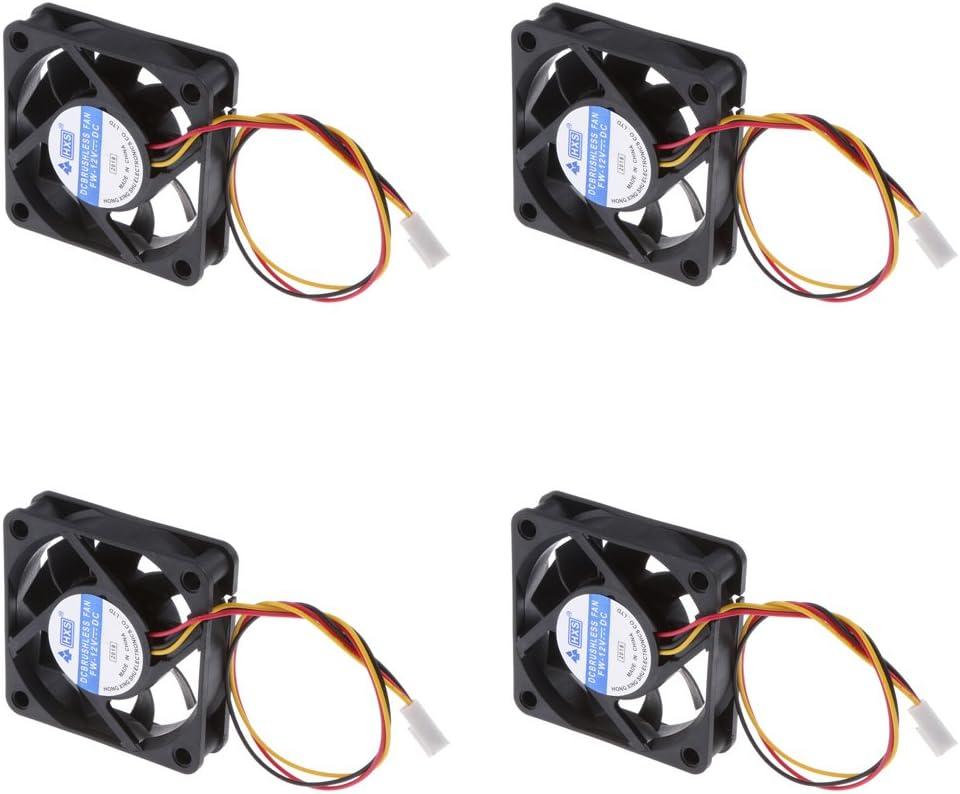 4PCS 12V 3Pin 60x60x10mm Mini-Fan Silent Computer Cooler Cooling Fan