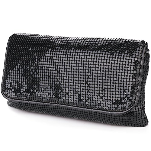 Bag Bling (expouch Women's Bling Clutch Handbag Aluminum Metal Mesh Evening Bag with Detachable Chain Shoulder Strap for Cocktail Party Wedding (Black))