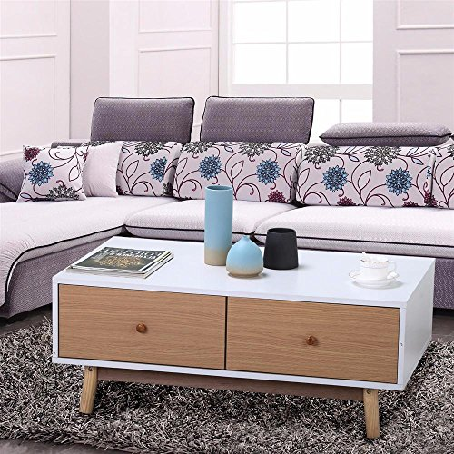 Yaheetech White/Brown Walnut Sofa Table with DrawerS Solid Wood Legs Living Room Furniture 61JCnx4ECuL