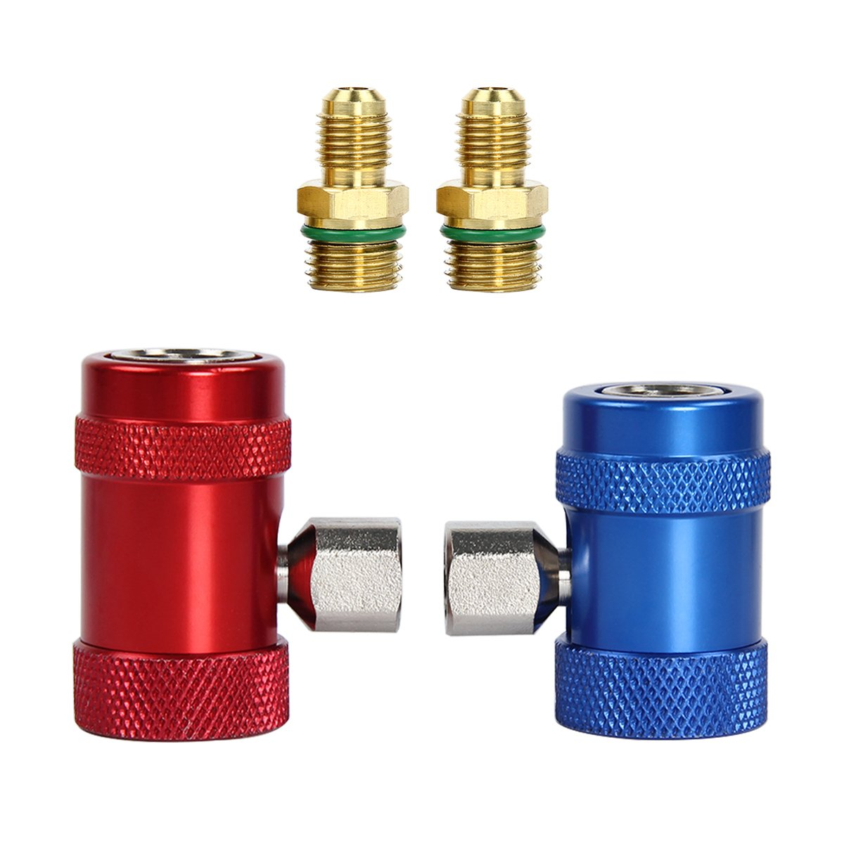 vismile R1234yf Quick Couplers Adapters 1/4' Male Port, AC Charging Fittings High & Low Pressure Set