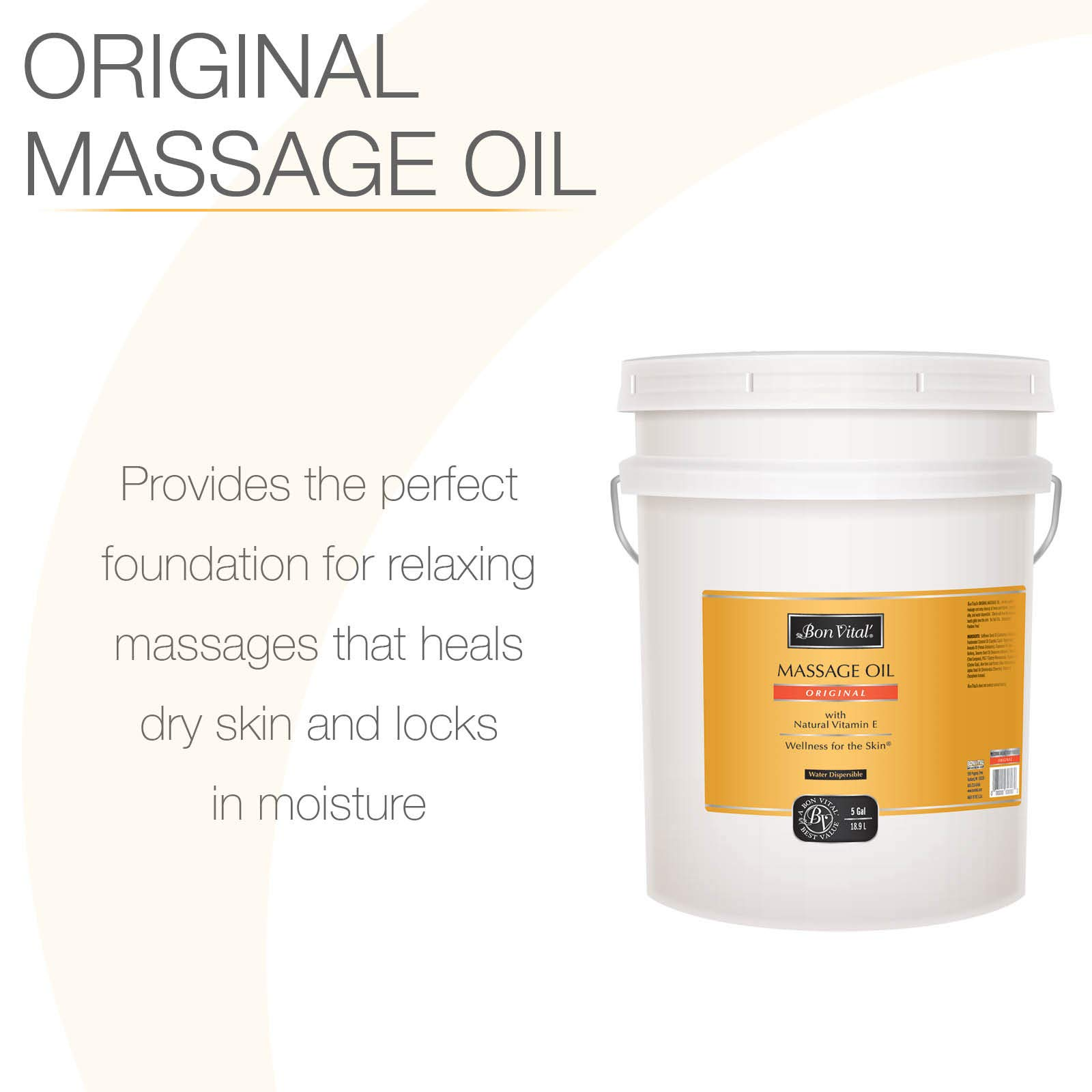 Bon Vital' Original Massage Oil for a Versatile Massage Foundation to Relax Sore Muscles and Repair Dry Skin, Most Requested, Best Massage Oil on Market, Unbeatable Consistency and Quality, 5 Gal Pail by Bon Vital (Image #2)