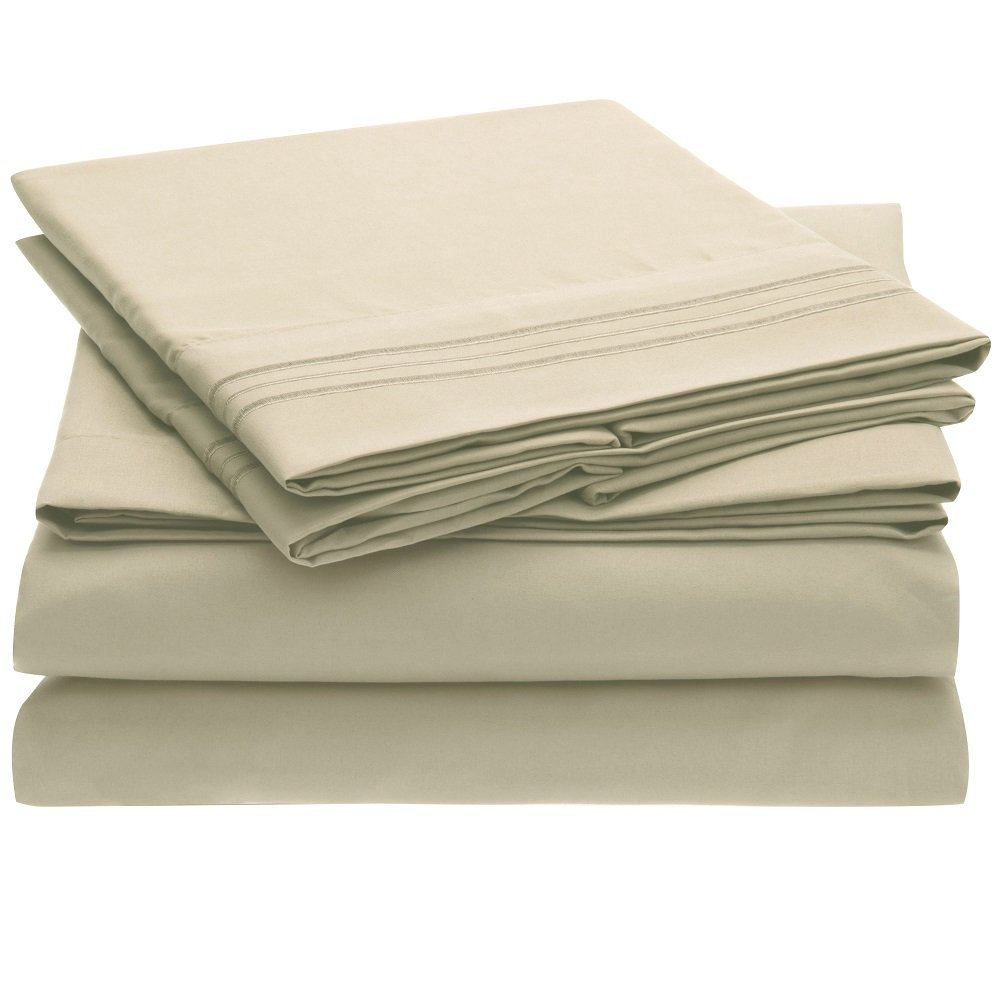 Harmony Linens Bed Sheet Set - 1800 Double Brushed Microfiber Bedding - 4 Piece Queen, Beige