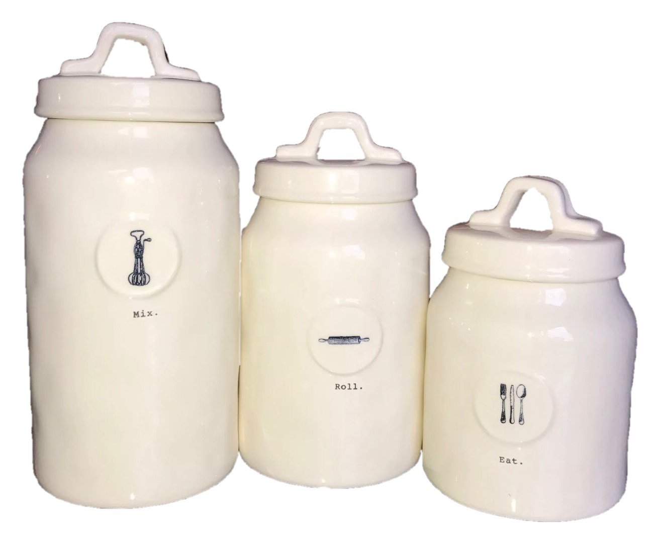 Rae Dunn by Magenta Ceramic Icon Canister Set, Mix, Roll, Eat 3-piece Set