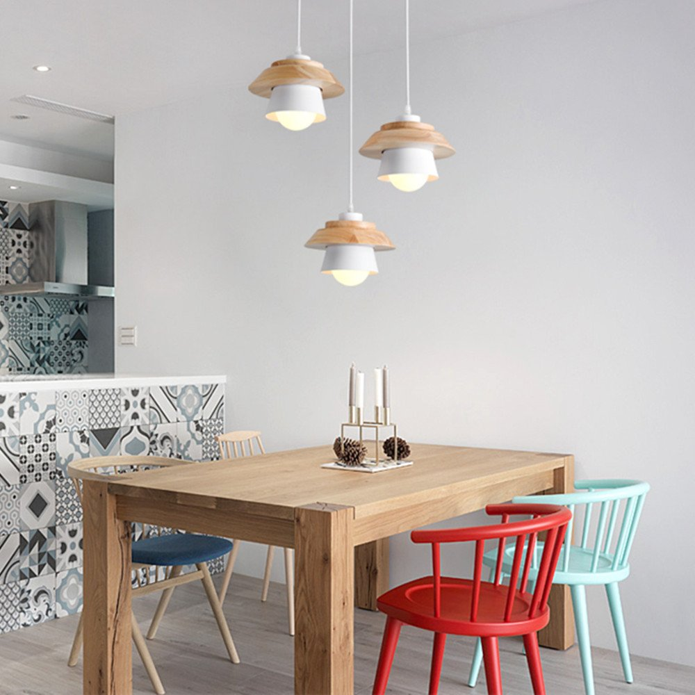 Modern Pendant Light Art Deco Lighting Fixture Loft Pendant Lamp, 1-Light Ceiling Light Adjustable Hanging Height, Ceiling Mounted, Wooden Decoration Style (White) by Chrasy (Image #7)