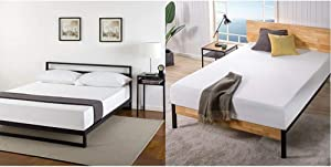 "Zinus Trisha 7 Inch Platforma Bed Frame with Headboard/Mattress Foundation/Box Spring Optional/Wood Slat Support, Queen & Ultima 10""; Comfort Memory Foam Mattress, Queen"
