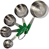 Measuring Cups - Metal Set with Engraved Standard and Metric Measurements - FREE Baking eBook by BrightSpring