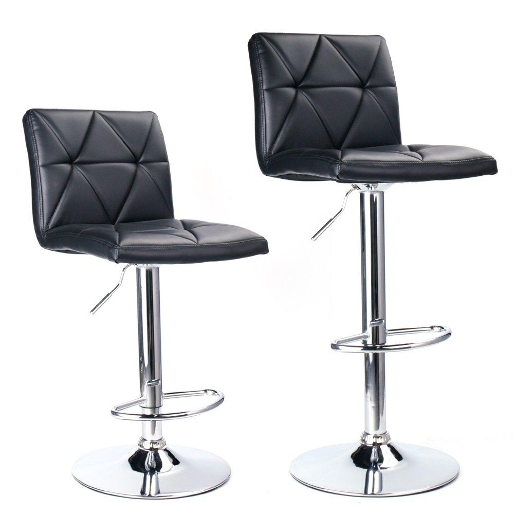 Leader Accessories Bar Stool,Black Modern Hydraulic Diagonal Line Adjustable Bar Stools with back,Set of 2