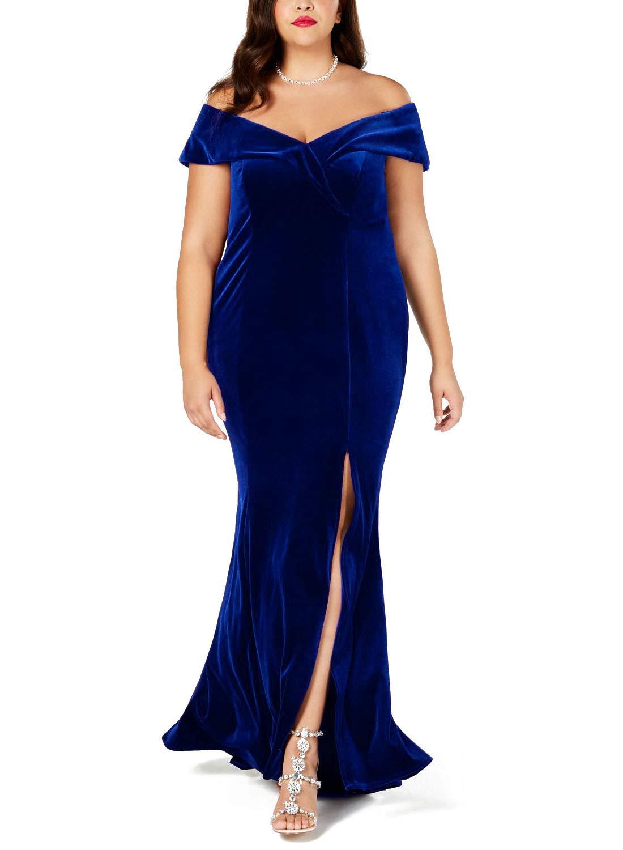 1c9d0a7e1d Lalagen Women Plus Size Off Shoulder Velvet Formal Gown Evening Party Dress  Blue XXXXL