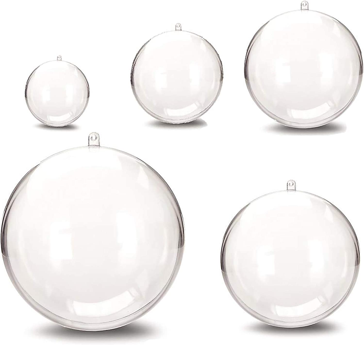 25 Pcs Christmas Ornament Balls Acrylic Clear , DIY Bath Bomb Mold, Bath Bomb molds, Craft Plastic Ball Ornament for Wedding Party Xmas Decor with 5 Size 1.18 inch,1.57 inch,1.96 inch, 2.36 inch