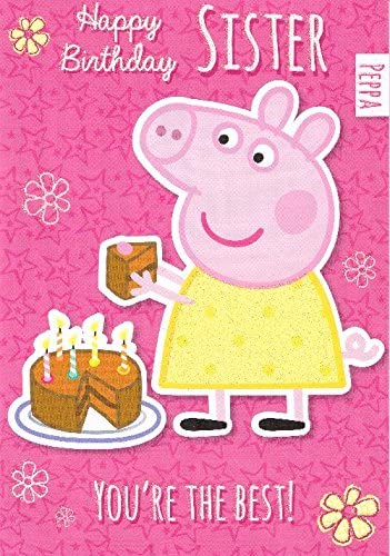 Admirable Peppa Pig Happy Birthday Sister Holding A Piece Of Chocolate Cake Personalised Birthday Cards Paralily Jamesorg