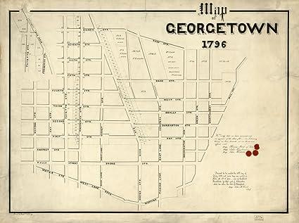Map Of United States Washington Dc.Amazon Com Vintage 1796 Map Of Map Of Georgetown 1796 Georgetown