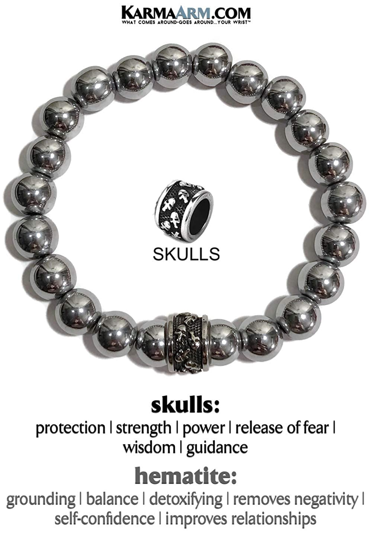 Silver Hematite KarmaArm Skull Bracelet Skulls Reiki Chakra Yoga Zen Meditation Jewelry Fearless