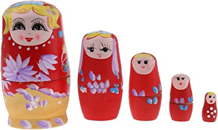 5pcs Russian Nesting Girl Dolls Matryoshka Babushka Handmade Wooden Sets
