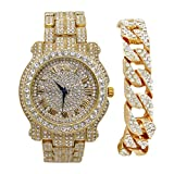Bling-ed Out Round Luxury Mens Watch w/Bling-ed Out Cuban Bracelet - L0504B - Cuban Gold/Gold