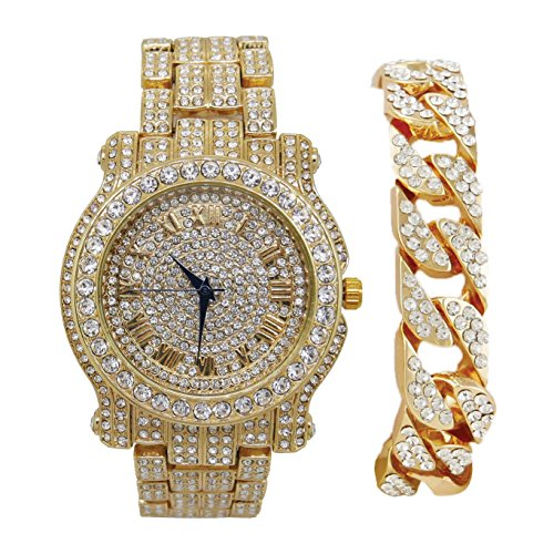 Gold Iced Out Watch - Bling-ed Out Round Luxury Mens Watch w/Bling-ed Out Cuban Bracelet - L0504B - Cuban Gold/Gold