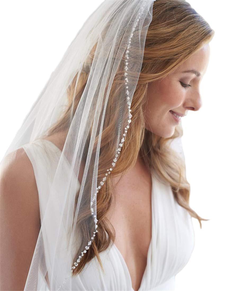 Passat Ivory 1T Long Cathedral Rhinestone Bridal Veil Comb Long Beads Veil New 106 by Passat (Image #1)