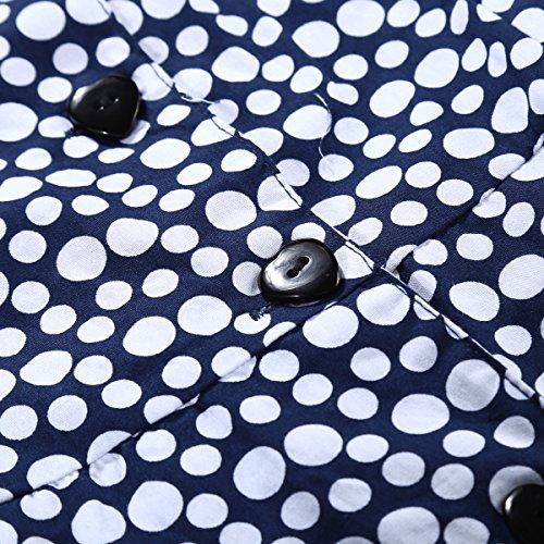 Bi.tencon Bouton Sans Manches Taille Cravate Vintage Femmes Été Robe Chemise Avec Des Poches À Pois Bleu Et Blanc