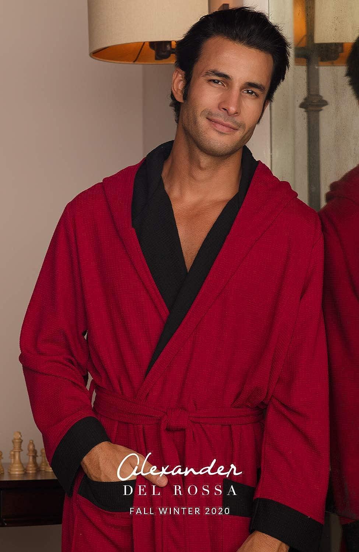 Warm Big and Tall Bathrobe Alexander Del Rossa Mens Plush Fleece Robe with Hood