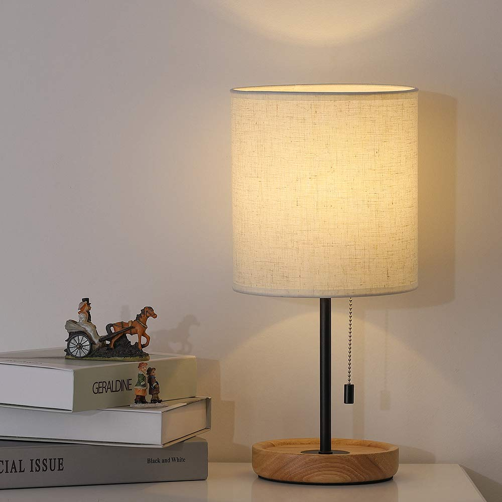 Modern Table Lamp, Nightstand Desk Lamp, Bedside Lamp with Wood Base and Linen Shade for Living Room, Bedroom, Office, College Dorm