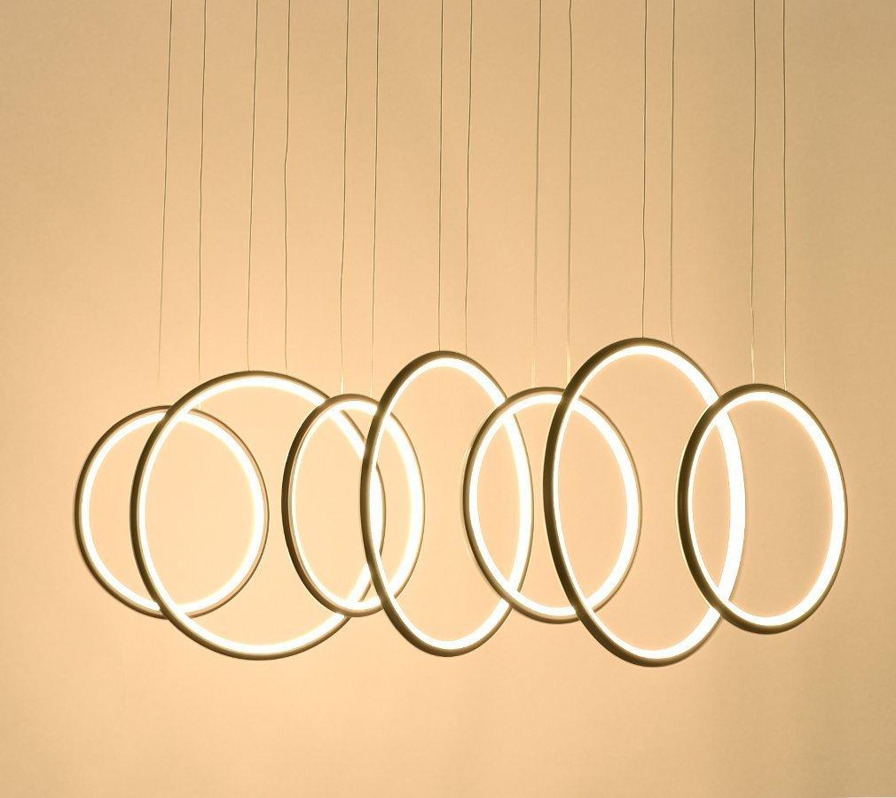 ロイヤルパールExclusiveデザインモダン円形LEDペンダント照明調節可能なHanging LightブラックFinish with 7リング B077X7VWYW