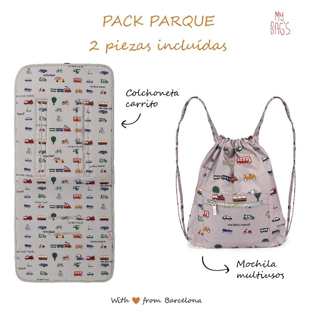 My bags Pack Colchoneta Universal Silla de Paseo 80 x 38 cm + Mochila Guardería Bebé 29 x 25 cm