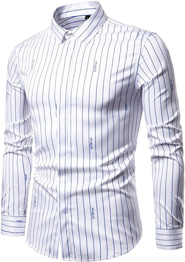 Alion Mens Slim Fit Premium Long Sleeve Slim Fit Button Down Stripe Shirt