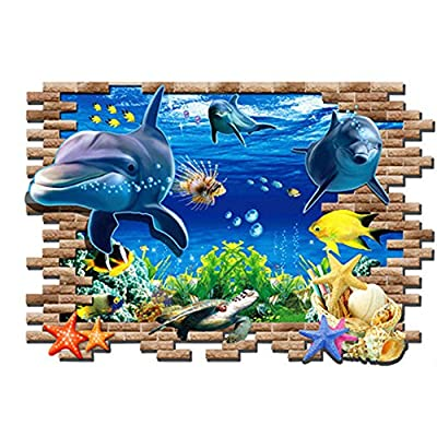 Flying Fish Wall Sticker 3D Under Sea Wall Décor Removable Blue Dolphin Ocean Wall Decal Sticker for Kids Boys Girls Bedroom Living Room